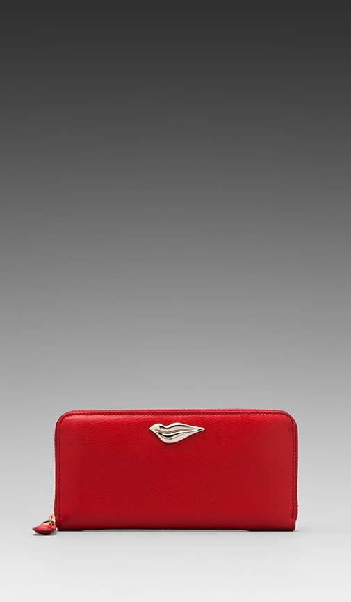 Lips Zip Around Leather Wallet