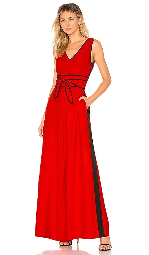 Diane von Furstenberg Wide Leg Belted Jumpsuit in Red