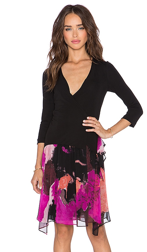 Diane von Furstenberg Riviera Chiffon Skirt Dress in Black & Dancing Explosion