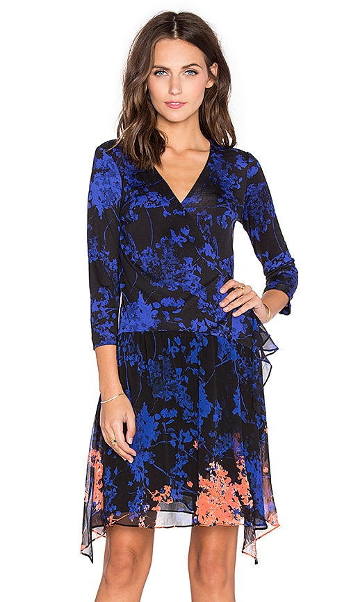 Diane von Furstenberg Riviera Chiffon Skirt Dress in Large Blue Floral