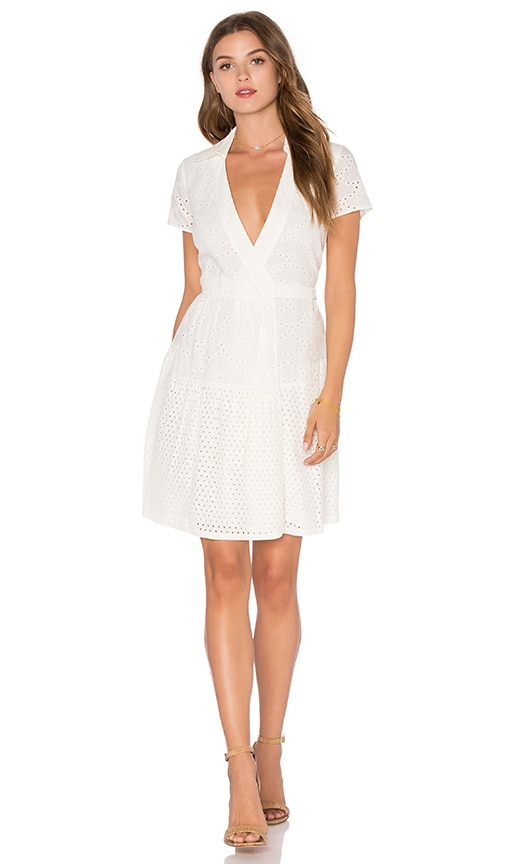 Diane von Furstenberg Kaley Two Eyelet Dress in Ivory