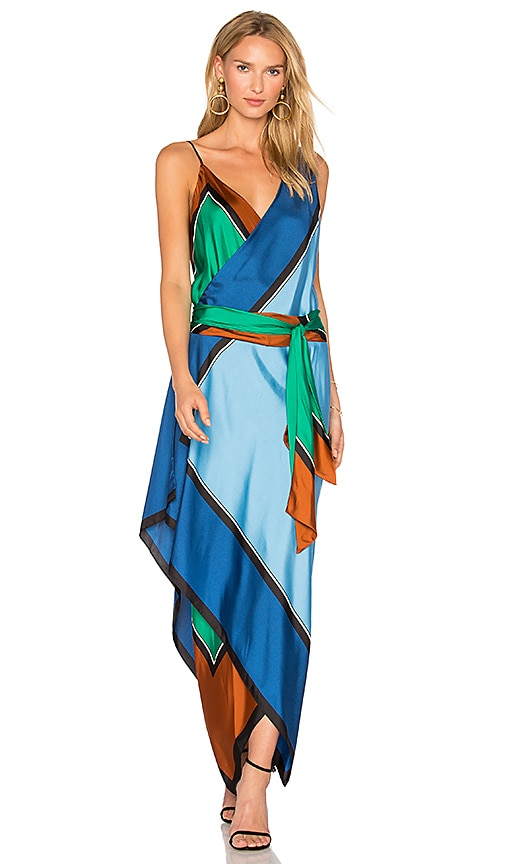 Diane von Furstenberg Scarf Tier Dress in Arago Print | REVOLVE