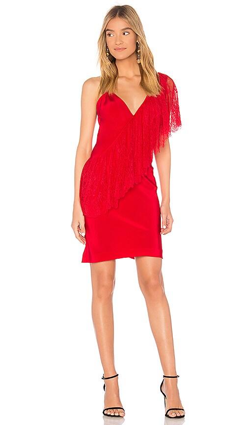 Diane von Furstenberg Ruffle Front Lace Dress in Red