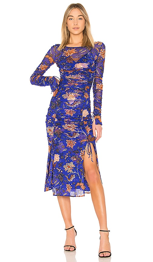 Diane von Furstenberg Overlay Mesh Dress in Blue