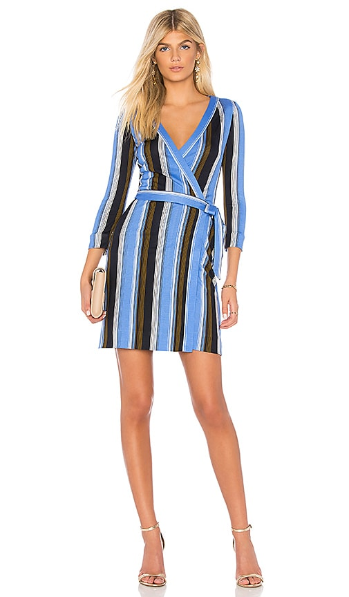 Diane von Furstenberg Mini Woven Wrap Dress in Blue