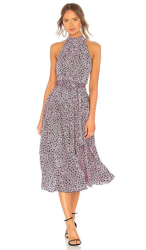 Diane von Furstenberg High Neck Halter Dress in Pink