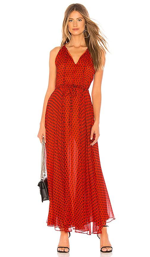 77793d22dc3 Diane von Furstenberg Tie Waist Maxi Dress in Baker Dot Small ...