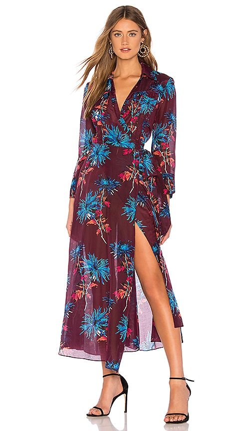57201a05be1523 Diane von Furstenberg Collared Wrap Dress in Hewes Currant Multi ...