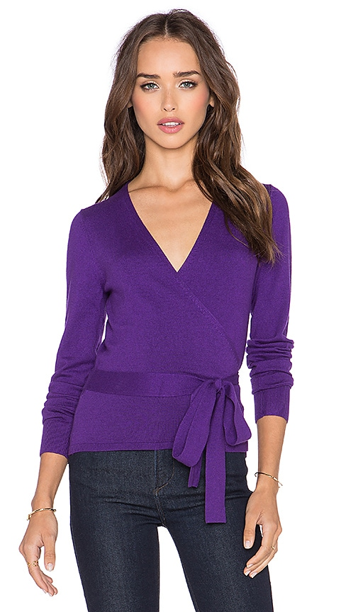 Diane von Furstenberg Ballerina Wrap Sweater in Royal Purple