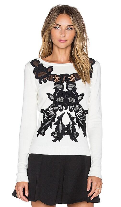 Diane von Furstenberg Shana Lace Sweater in Ivory & Black