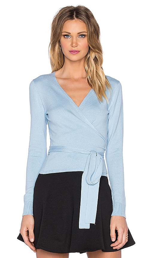 Diane von Furstenberg Ballerina Wrap Two Sweater in Blue Cloud