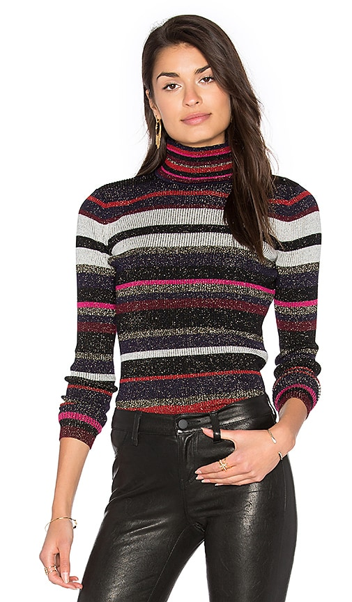 Diane von Furstenberg Leela Metallic Turtleneck Sweater in Navy