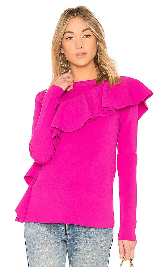 Diane von Furstenberg Ruffle Front Pullover in Pink