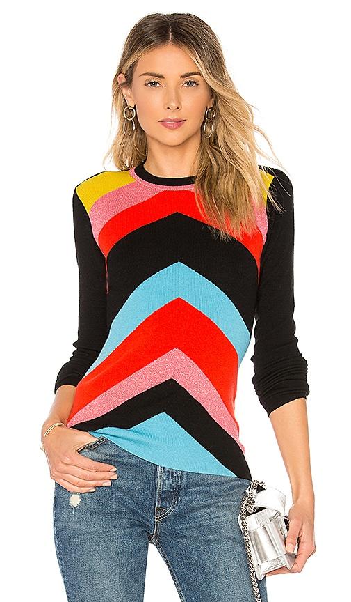 Diane von Furstenberg Crewneck Rainbow Sweater in Black