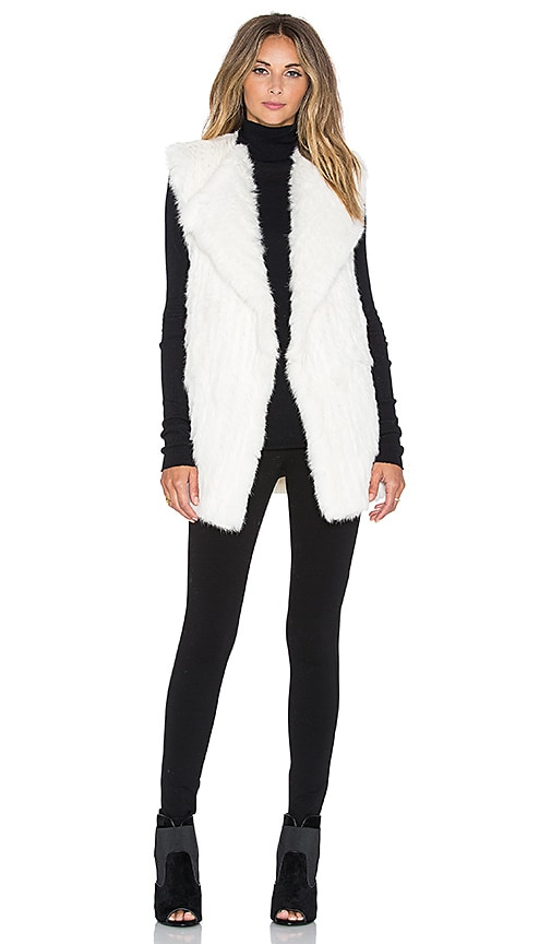 Diane von Furstenberg Denver Knit Back Rabbit Fur Vest in Ivory