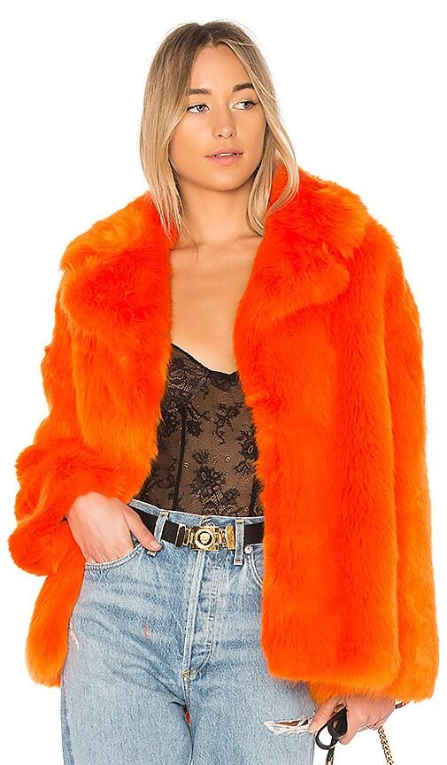 Diane von Furstenberg Collared Faux Fur Jacket in Orange