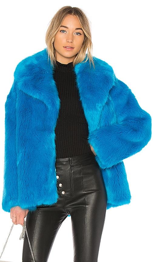 Diane von Furstenberg Collared Faux Fur Jacket in Blue