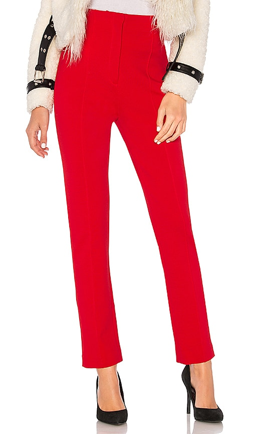 Diane von Furstenberg High Waisted Skinny Pant in Red