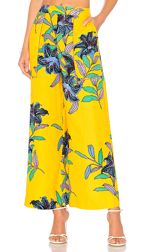 Diane von Furstenberg Wide Leg Cropped Pant in Yellow