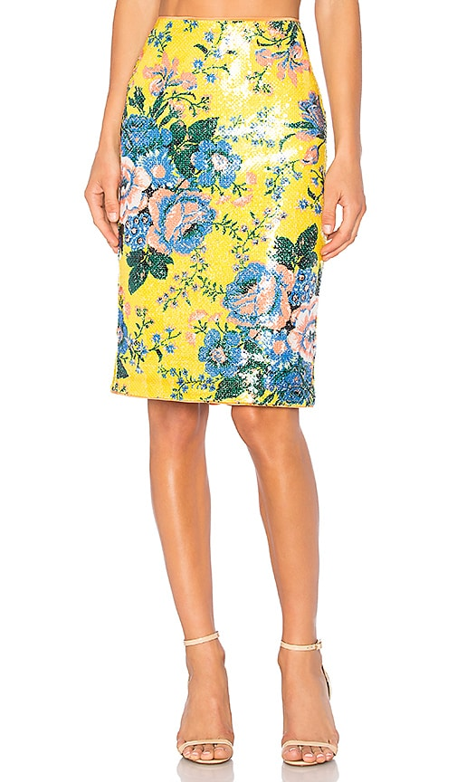 Diane von Furstenberg Tailored Pencil Skirt in Yellow