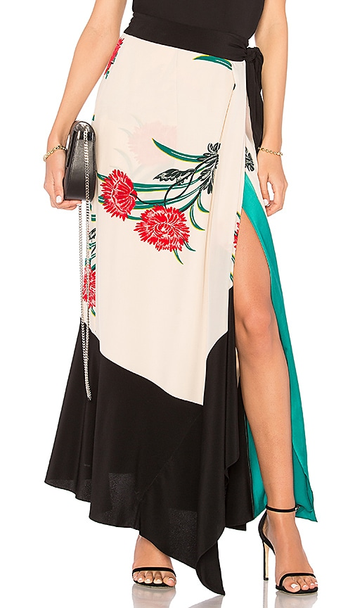 Farren floral-print silk crep-de Chine skirt