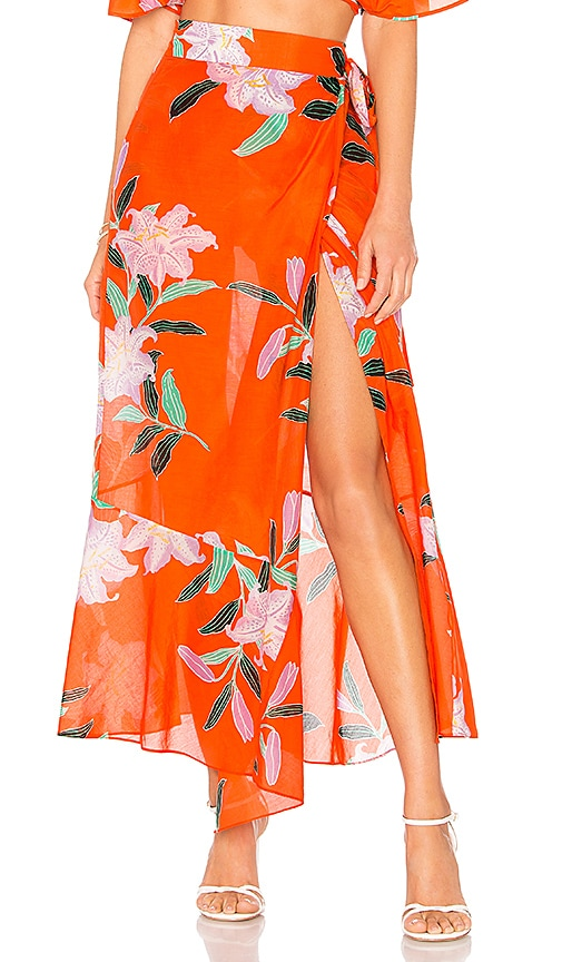 Diane von Furstenberg Draped Wrap Beach Skirt in Orange