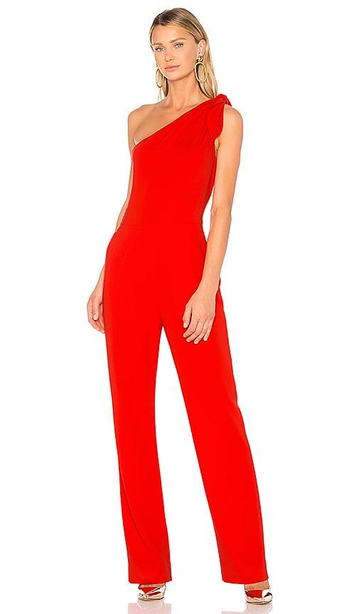 Diane von Furstenberg One Shoulder Knot Jumpsuit in Red