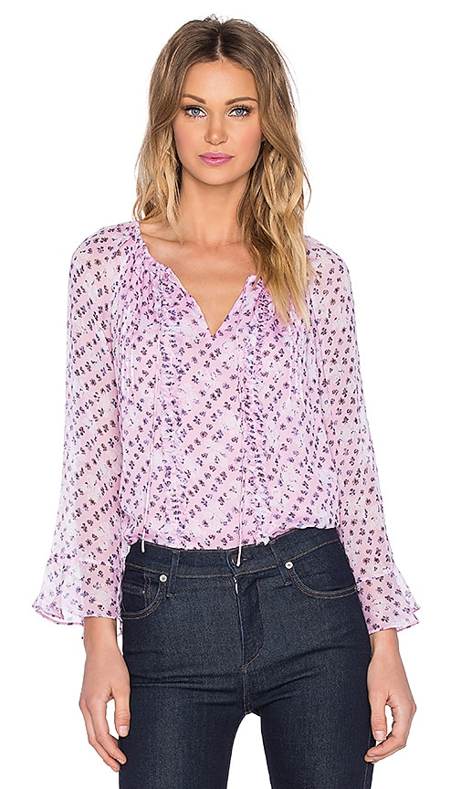 Diane von Furstenberg Simonia 70's Top in Daisy Shadows New Pink