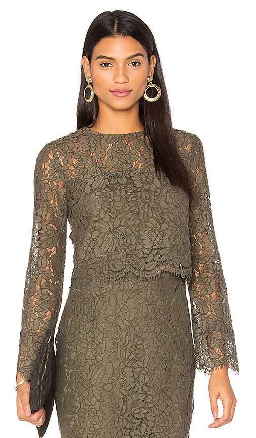 Diane von Furstenberg Yeva Lace Top in Green