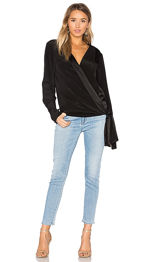 Diane von Furstenberg Cross Front Blouse in Black