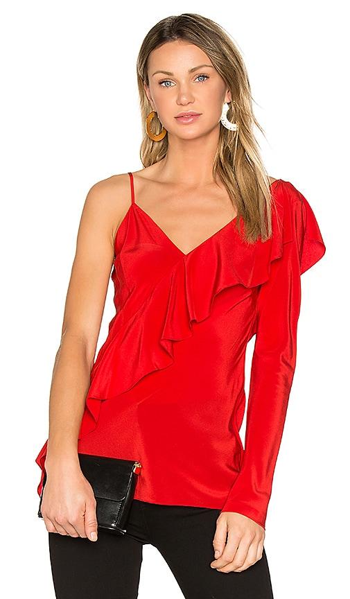 Diane von Furstenberg Ruffle Front Top in Red