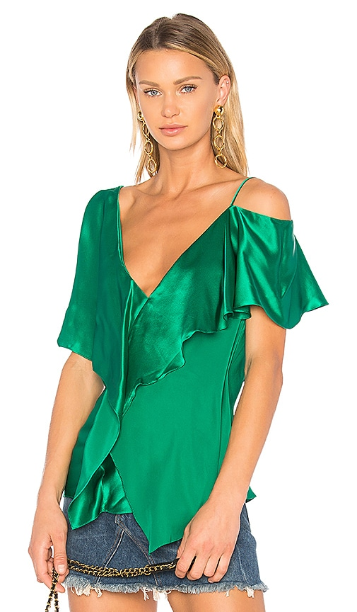 Diane von Furstenberg Ruffle Front Top in Green