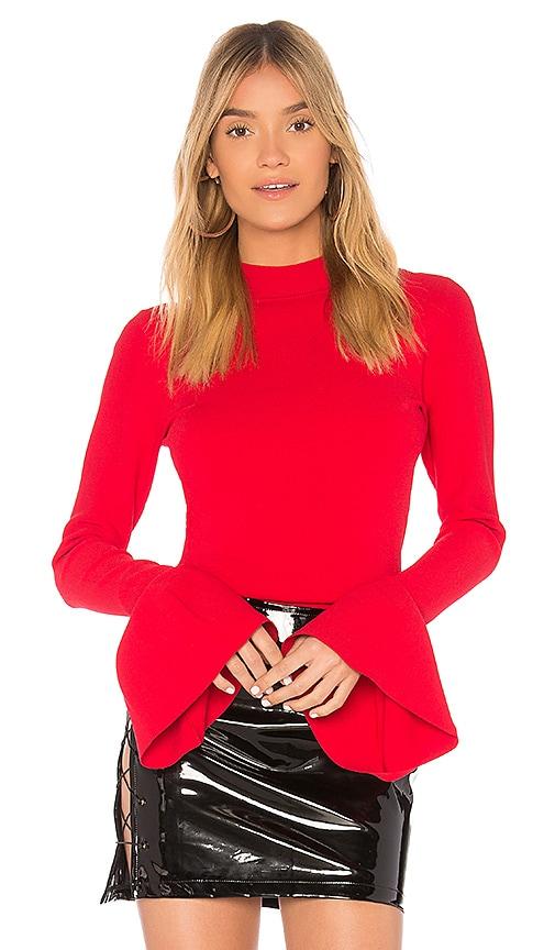 Diane von Furstenberg Flutter Sleeve Pullover in Red