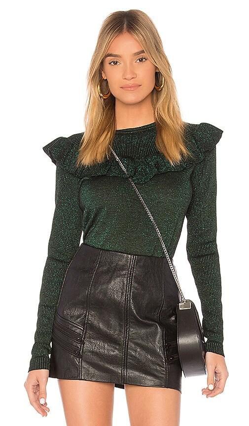 Diane von Furstenberg Ruffle Neckline Pullover in Green