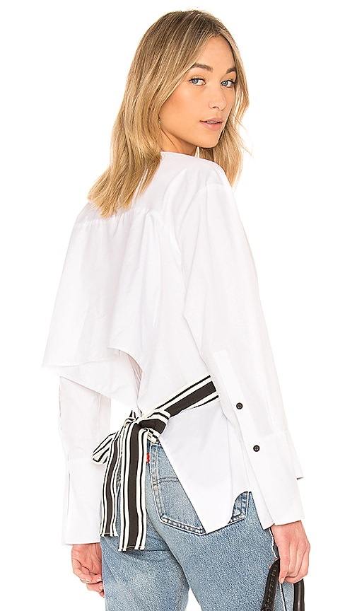 Diane von Furstenberg Cross Over Tied Blouse in White