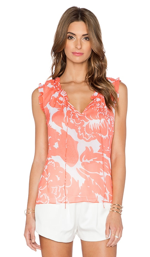 Diane von Furstenberg Rebekah Top in Giant Floral Solid Coral