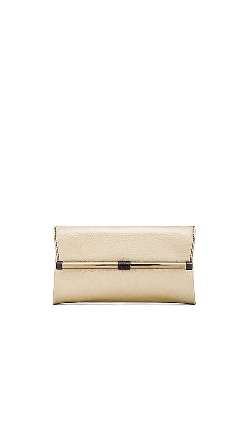 Diane von Furstenberg Metallic Envelope Clutch in Gold
