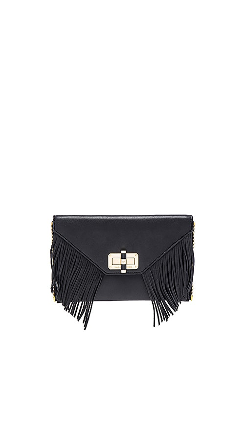 Diane von Furstenberg Gallery Fringe Zip Out Clutch in Black