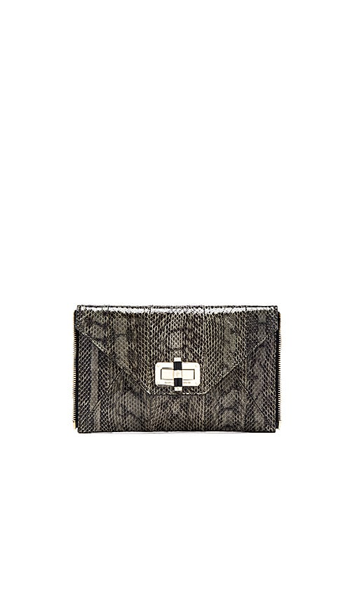 Diane von Furstenberg Gallery Snake Zip Out Clutch in Olive