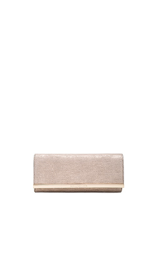Diane von Furstenberg Soiree Matte Metallic Lizard Clutch in Light Gold