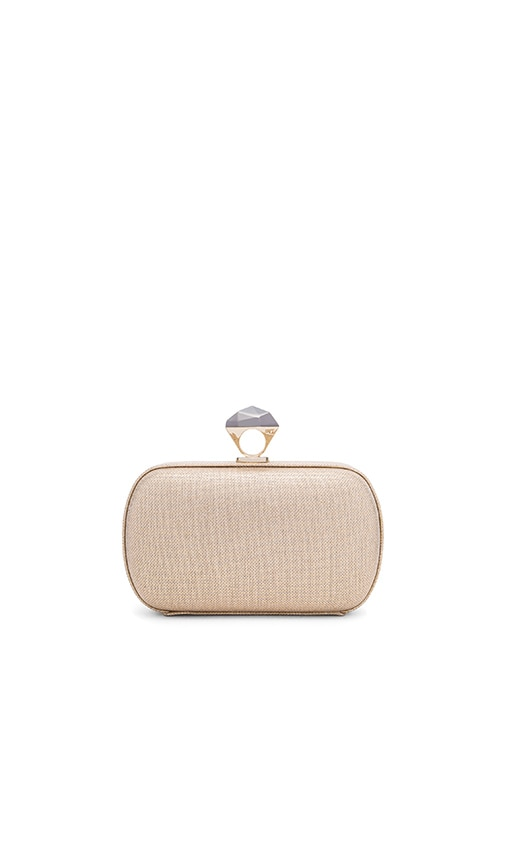 Diane von Furstenberg Powerstone Metallic Linen Minaud Clutch in Light Gold