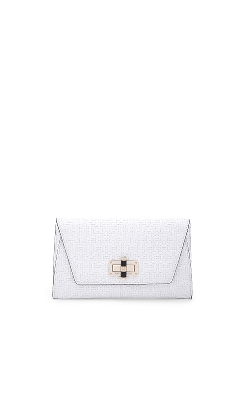 Diane von Furstenberg Gallery Uptown Basketweave Clutch in Optic White
