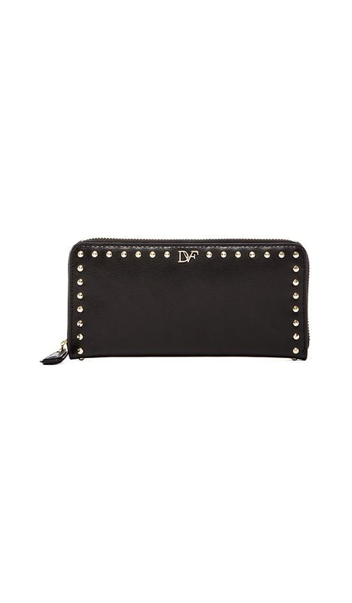 Studded Leather Zip Around Wallet