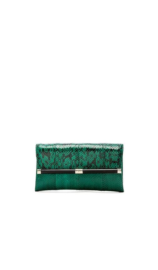 Diane von Furstenberg Envelope Snake Clutch in Spring Green