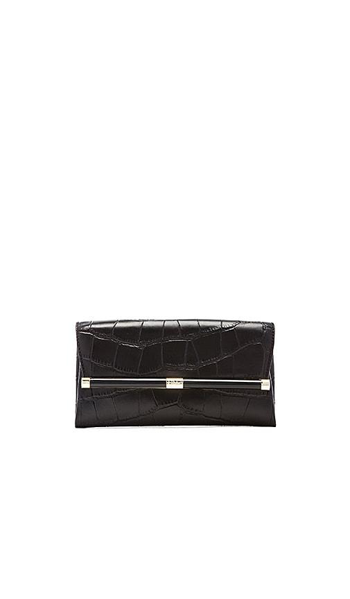 Diane von Furstenberg Embossed Croc Envelope Clutch in Black