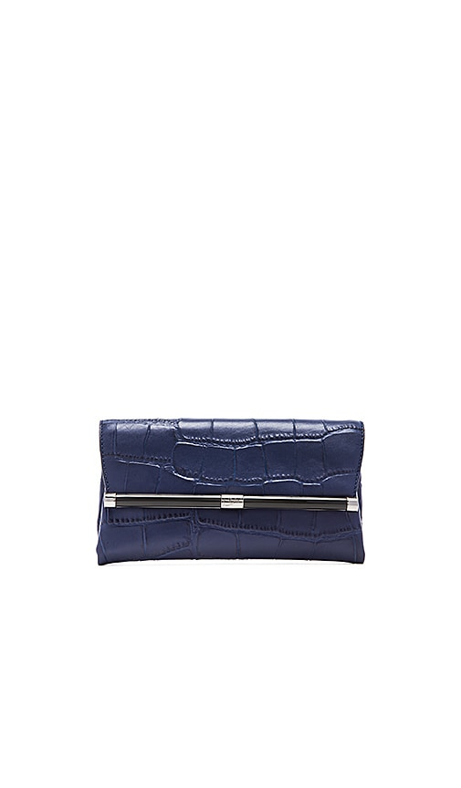 Diane von Furstenberg Embossed Croc Envelope Clutch in Dark Night