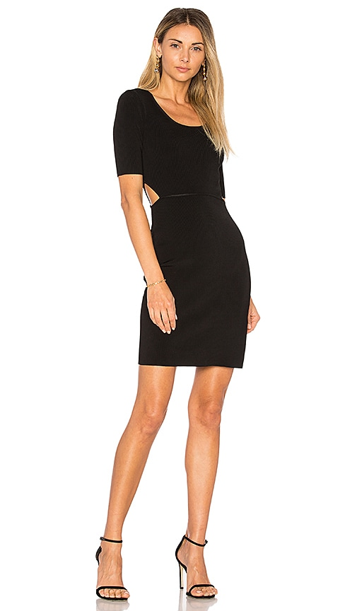 Elizabeth and James Ribbed Cut Out Dress in Black