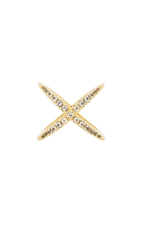 Elizabeth and James Windrose Pave Ring in Metallic Gold