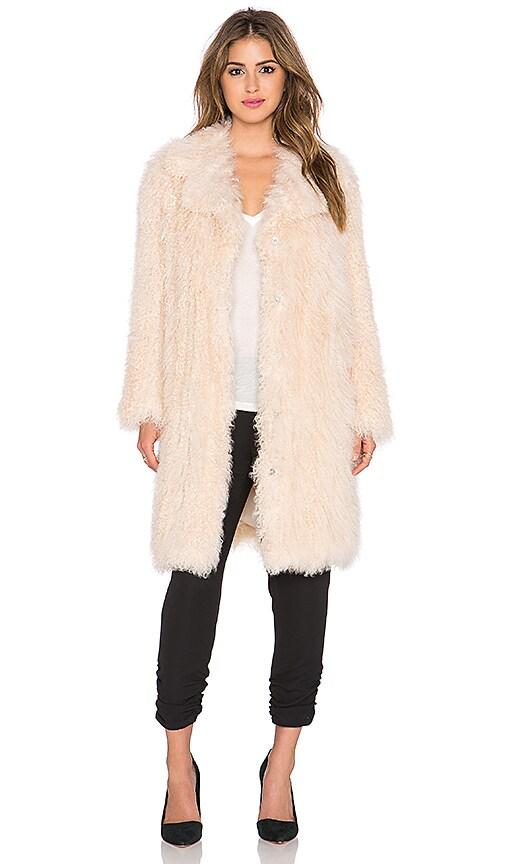 Elizabeth and James Hart Tibetan Lamb Fur Coat in Nude