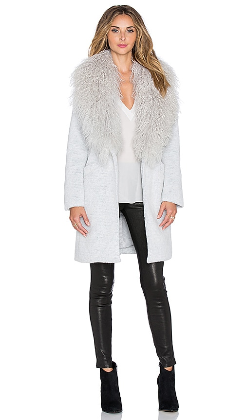 Elizabeth and James Mongolian Iris Coat with Lamb Fur Trim in Pale Grey